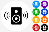 Speakers Icon on Flat Color Circle Buttons. This 100% royalty free vector illustration features the main icon pictured in black inside a white circle. The alternative color options in blue, green, yellow, red, purple, indigo, orange and black are on the right of the icon and are arranged in two vertical columns.