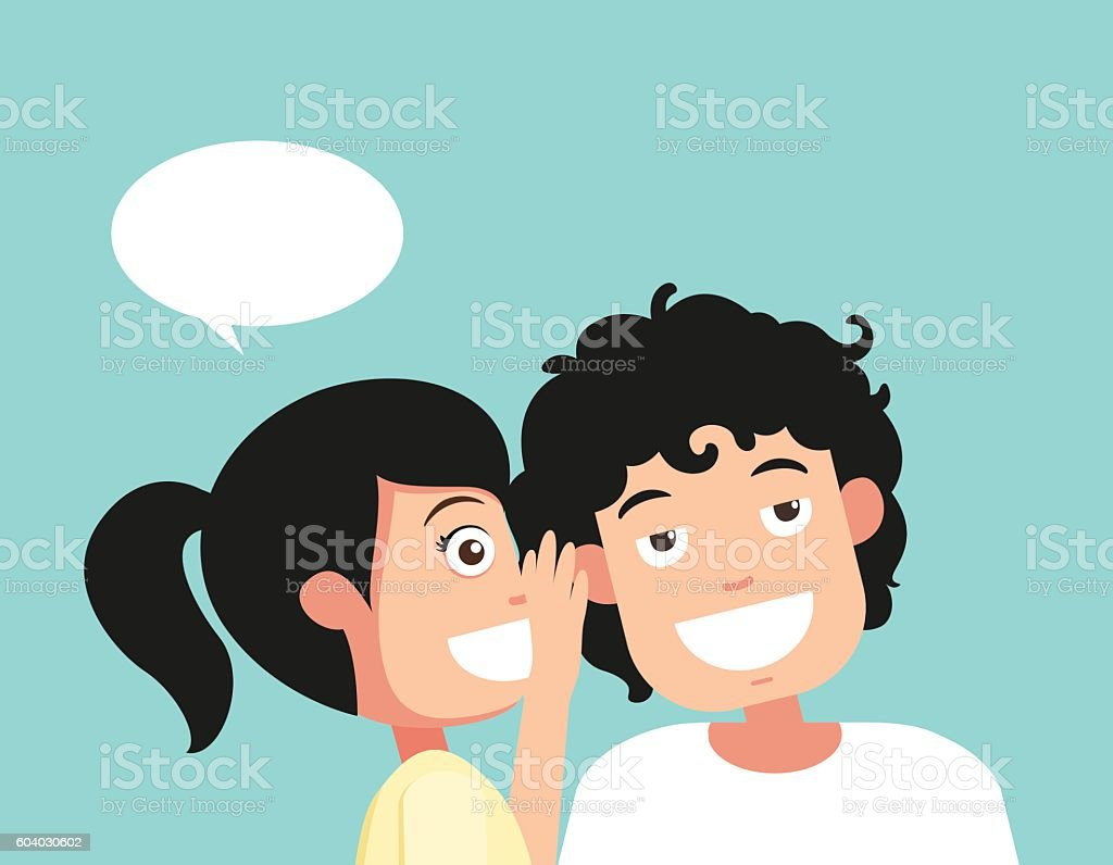 Speaking and listening, hearing and whisper, vector vector art illustration