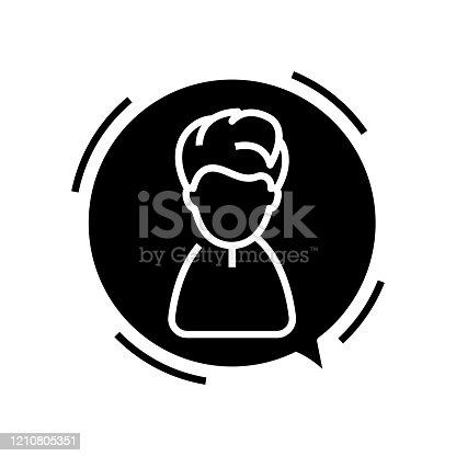 istock Speaking boy black icon, concept illustration, vector flat symbol, glyph sign 1210805351