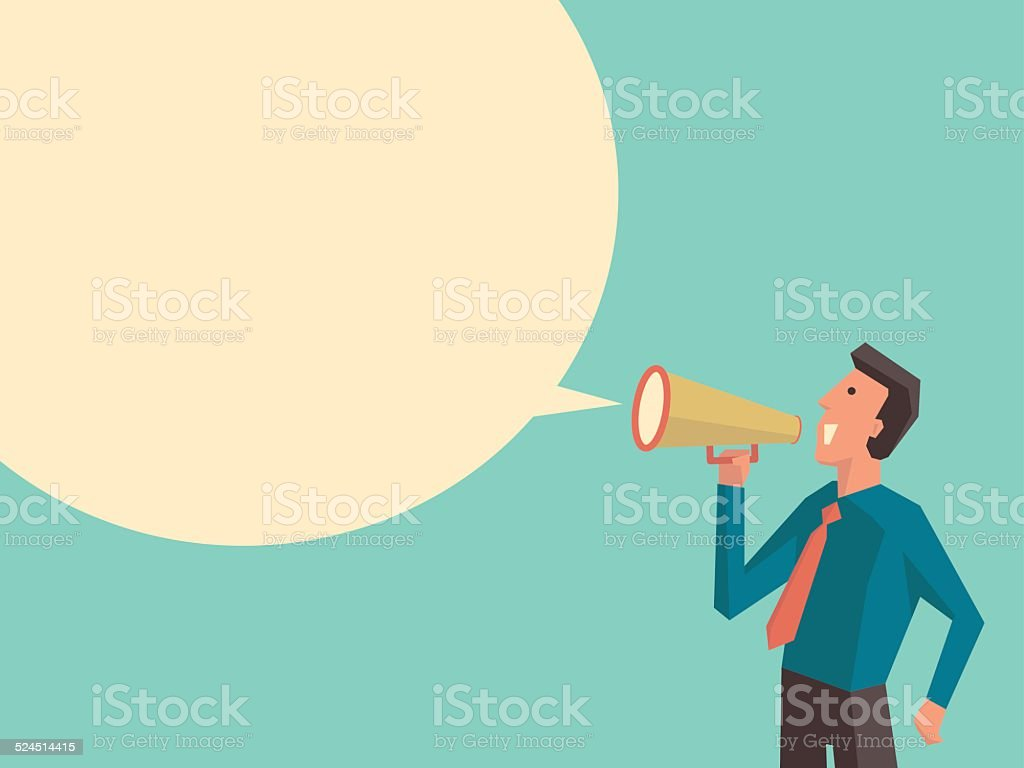 Speaking businessman vector art illustration