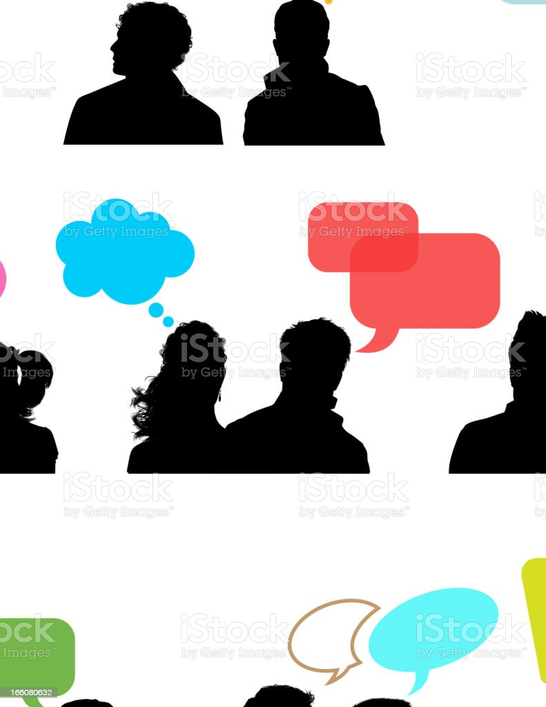 Speaking heads and Speech bubble royalty-free stock vector art