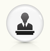 Speaking Man icon on white round vector button