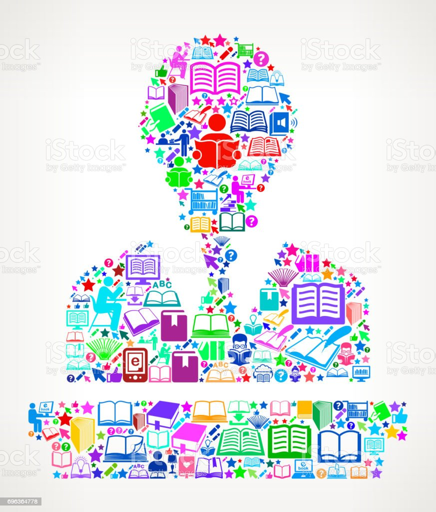 Speaking Man Reading Books and Education Vector Icon Background vector art illustration