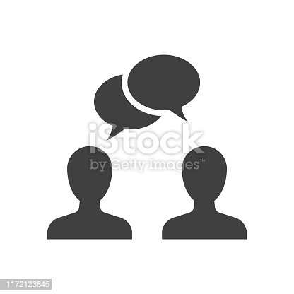 Speaking people black icon. Two men discussion with chat bubbles over their heads
