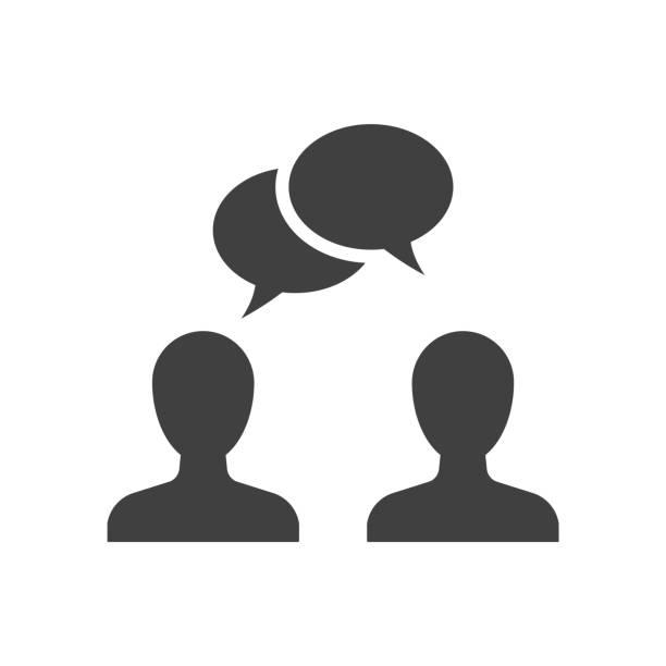 mówiąc ludzi czarna ikona na białym tle - dwie osoby stock illustrations