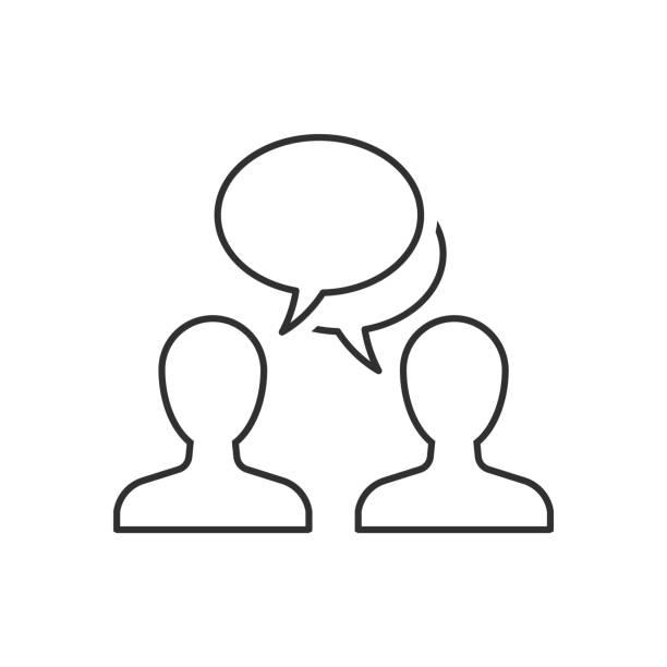 說話的人勾勒出白色背景上的圖示向量藝術插圖