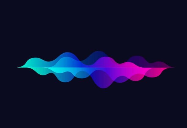 音の波を話します。カラフルなモーションのグラデーション。rhythm.abstract ベクトルの背景。黒い背景に音楽オーディオ テクノロジー イコライザー - 音響点のイラスト素材/クリップアート素材/マンガ素材/アイコン素材