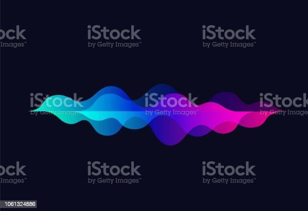 音の波を話しますカラフルなモーションのグラデーションrhythmabstract ベクトルの背景黒い背景に音楽オーディオ テクノロジー イコライザー - イラストレーションのベクターアート素材や画像を多数ご用意