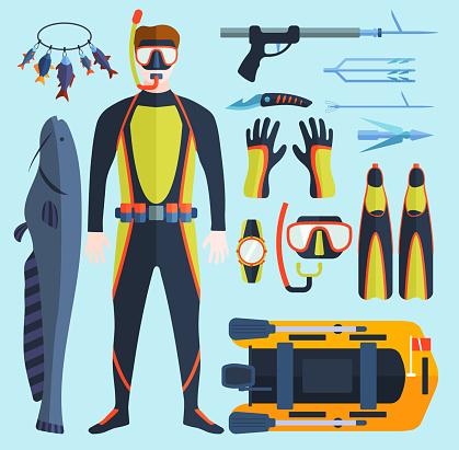 Spearfishing vector set