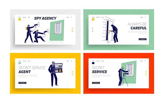 Special Agents Spying Landing Page Template Set. People Spraying Poison on Door Handle, Use Technics and Equipment