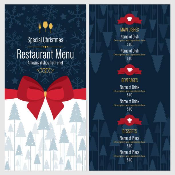 illustrazioni stock, clip art, cartoni animati e icone di tendenza di menu speciale di natale festoso design - pranzo di natale