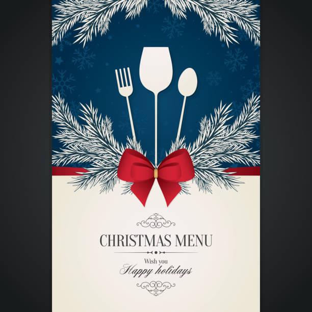 illustrazioni stock, clip art, cartoni animati e icone di tendenza di design speciale del menu festivo natalizio - pranzo natale
