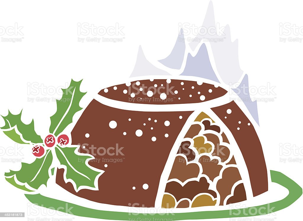 Special Christmas Pudding on Fire royalty-free stock vector art