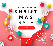Christmas sale template, colorful xmas gift box with paper cut holiday decoration for special season web discount.
