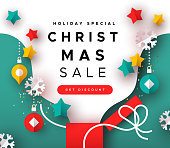 istock Special christmas sale template papercut open gift 1184829627