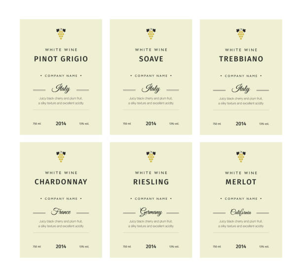 精選優質葡萄品種及優質葡萄酒品牌名稱標籤, 抽象孤立向量插圖。白葡萄酒標籤集。 - wine 幅插畫檔、美工圖案、卡通及圖標