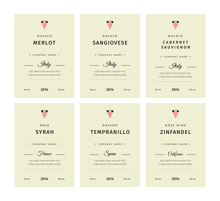 Special collection best quality grape varieties and premium wine brand names labels emblems abstract isolated vector illustration. Rose wine label set.