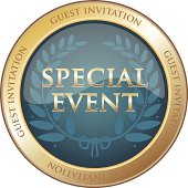 Special event guest invitation gold emblem with a laurel wreath.