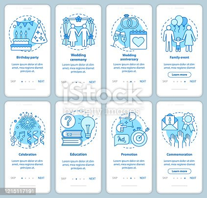 Special event management onboarding mobile app page screen with linear concepts. Party planner. Holiday celebration walkthrough graphic instructions. UX, UI, GUI vector templates set with illustration