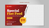 Food banner template for restaurant and cafe