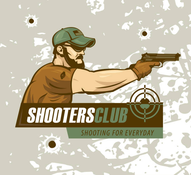 stockillustraties, clipart, cartoons en iconen met de speciale krachtenmilitair houdt een pistool. logo shooting club, militaire illustratie. - gun shooting