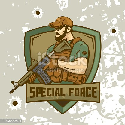Special Forces soldier holds an assault rifle against the background of the shield. Logo of a military man illustration.