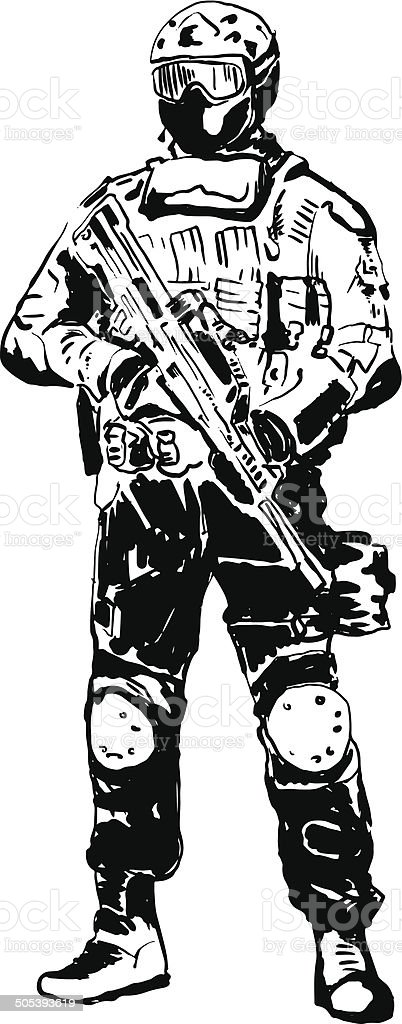 Special forces soldier. vector art illustration