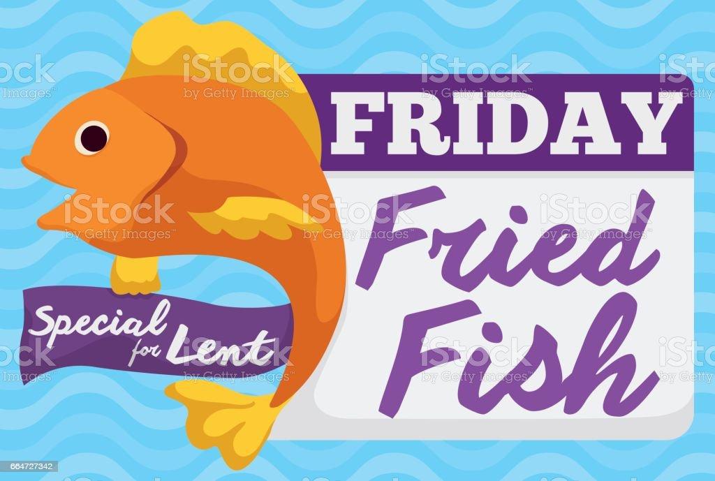 Special Fried Fish Menu for Friday in Lent Celebration vector art illustration