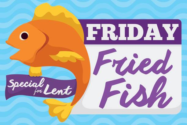 Special Fried Fish Menu for Friday in Lent Celebration Promo design for special dish for Lent on Friday: fried fish. lent stock illustrations
