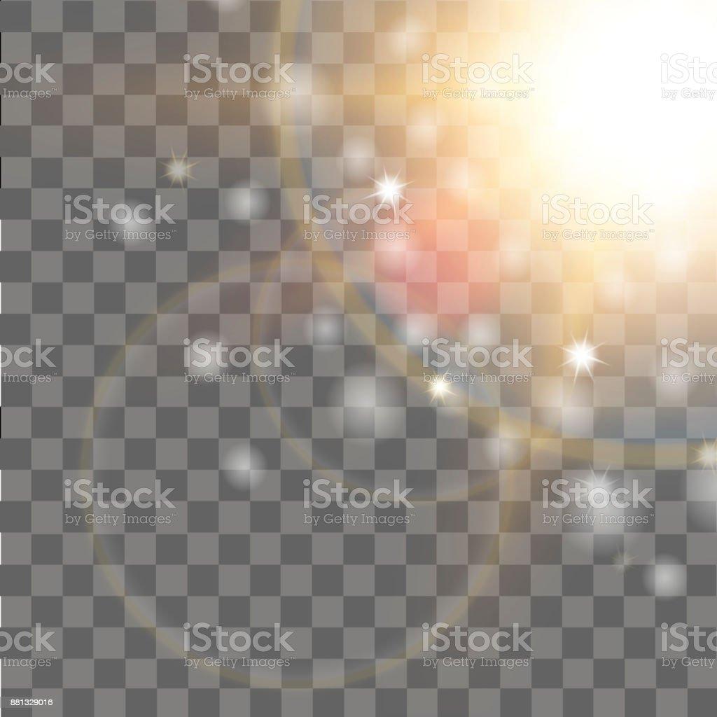 Special lens flare light effect on transparent background. Vector. vector art illustration