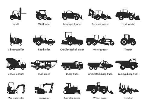 Special machinery, set of construction equipment. Collection of silhouettes of working equipment and cars.