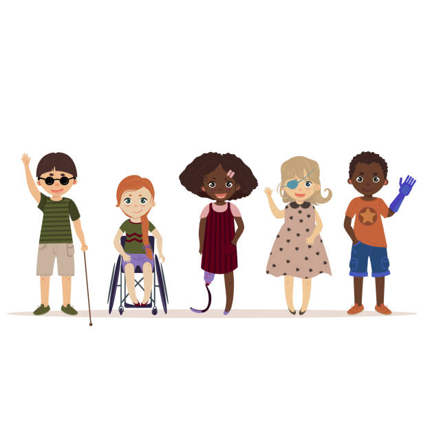 Special needs children. Children with disabilities vector art illustration