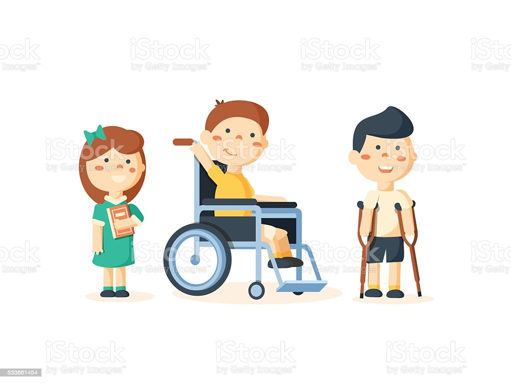 Special needs children with friends vector art illustration