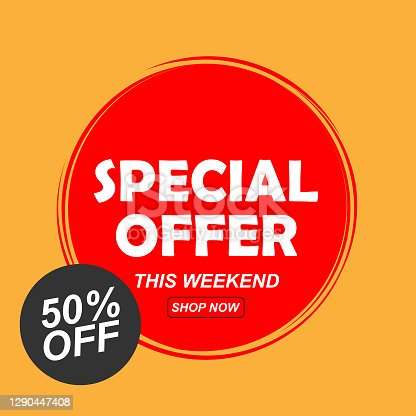 istock special offer 50% off red color and yellow background vector 1290447408