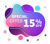 Modern and contemporary web banner design with backgrounds for special offer. Abstract vector illustrations in trendy holographic & ultraviolet colors.