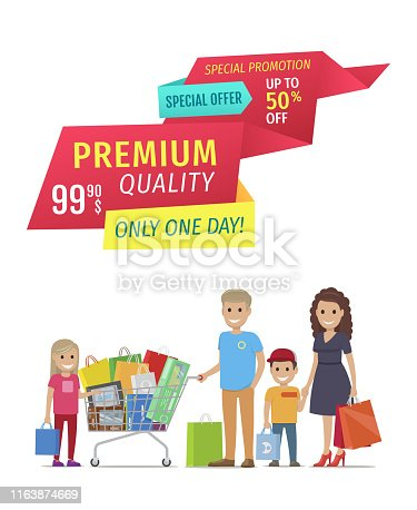 istock Special Offer Banners with Parents and Children 1163874669