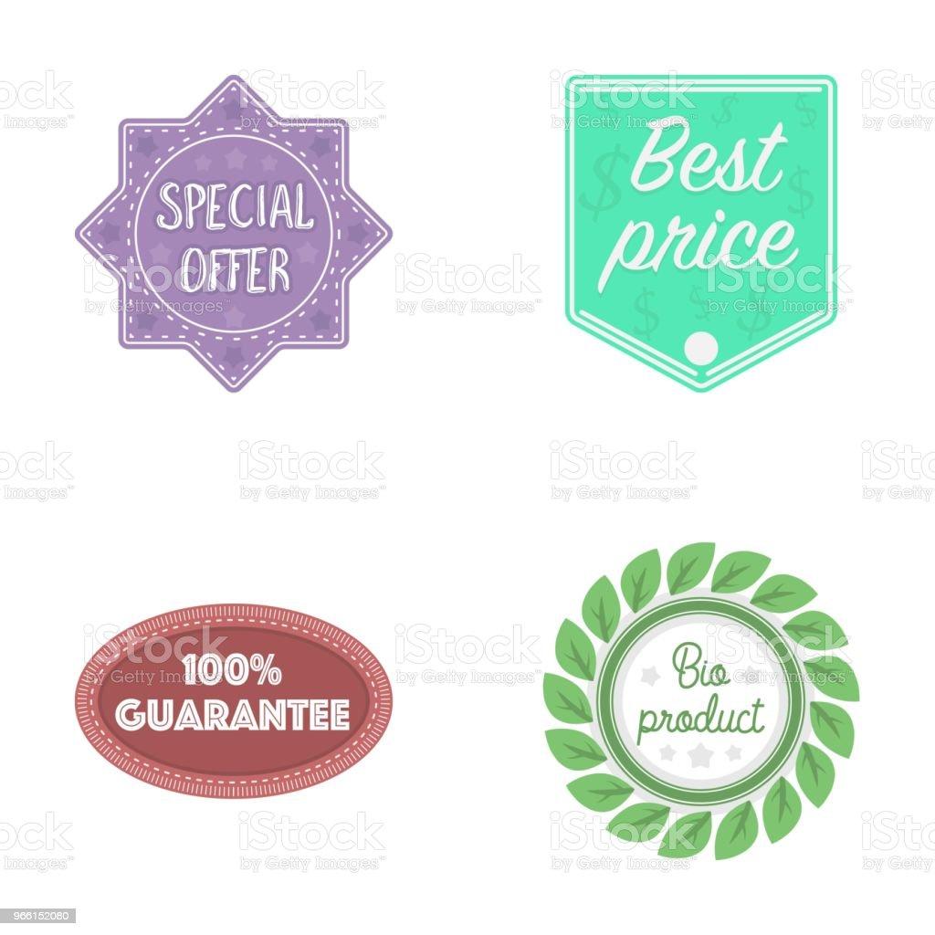 Specialerbjudande, bästa prise, garanti, bio produkt. Etikett, samling ikoner i tecknad stil vektor symbol stock illustration web. - Royaltyfri Biologi vektorgrafik