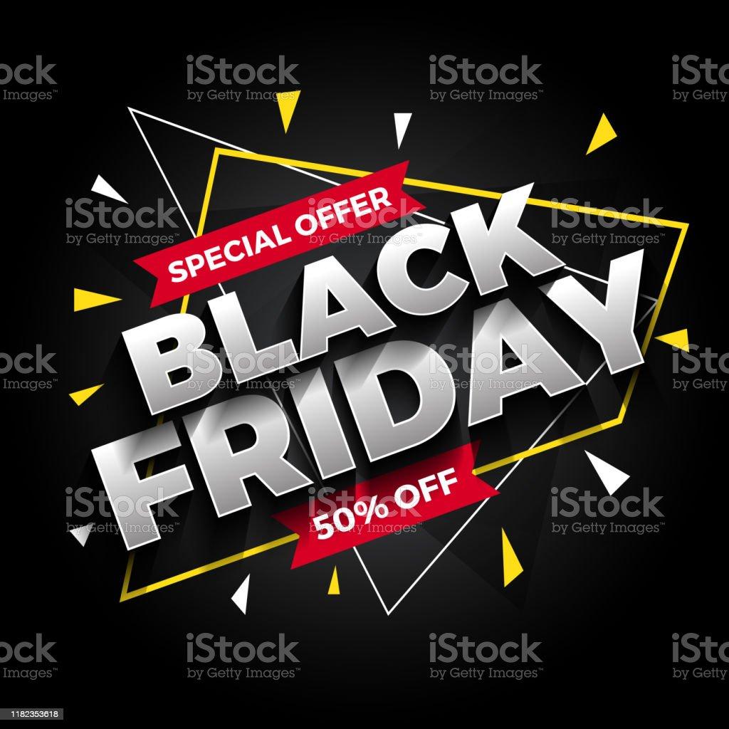 Special offer black Friday sale banner background. Vector illustration - Royalty-free Abstrato arte vetorial