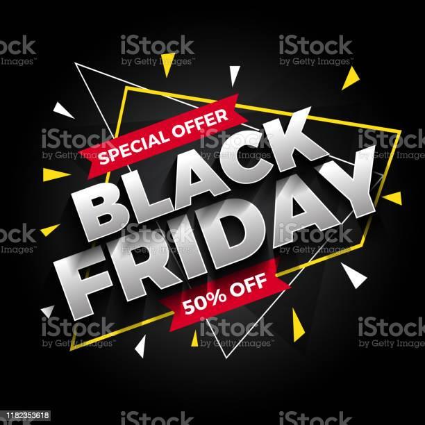 Special Offer Black Friday Sale Banner Background Vector Illustration - Arte vetorial de stock e mais imagens de Abstrato