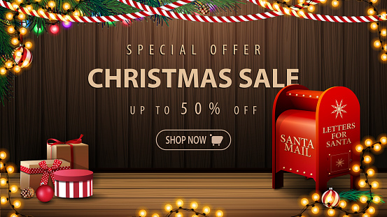 Special offer, Christmas sale, up to 50% off, discount banner with cozy interior with wooden wall, garland, presents and Santa letterbox