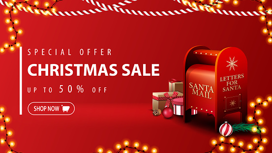 Special offer, Christmas sale, up to 50% off, modern red discount banner in minimalistic style with Christmas garlands and Santa letterbox with presents