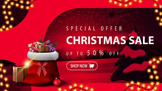 Special offer, Christmas sale, up to 50% off, pink discount banner with tinted winter landscape, garland, button and Santa Claus bag with presents