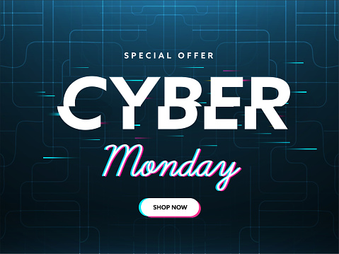 Special Offer Cyber Monday Text on Teal Blue Futuristic Circuit Background For Sale.