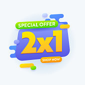 2X1 Special Offer Sale Banner Advertising, Half Price Promotional Ad Card Design for Shopping Discount, Social Media Promo Content Advert, Store Off Poster or Flyer Template. Vector Illustration