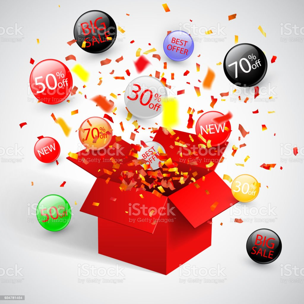 Special Offer Sale Discount Symbol With Open Red Gift And Flow Labels Easy To Use For Your Design Stock Illustration Download Image Now Istock