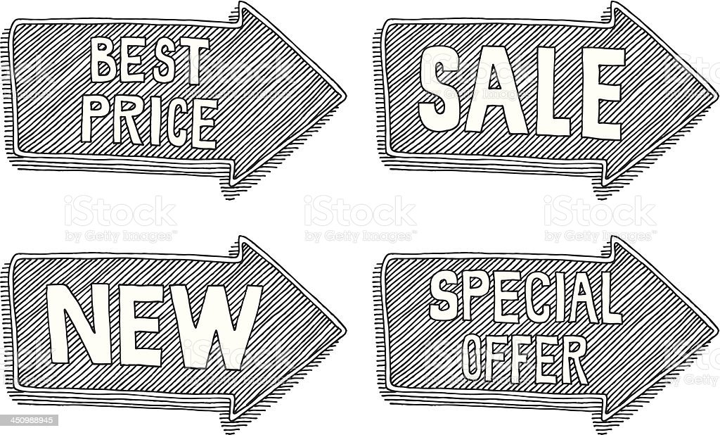 Special Offer Sale New Best Price Text Label Arrow Drawing royalty-free stock vector art