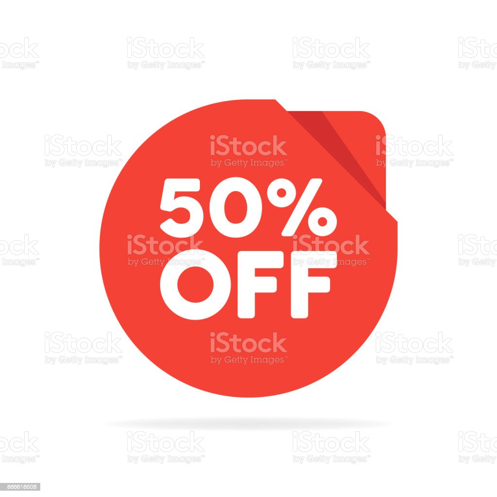 Special offer sale red round circle origami tag. Discount offer price label, symbol for advertising campaign in retail, sale promo marketing, Isolated vector illustration