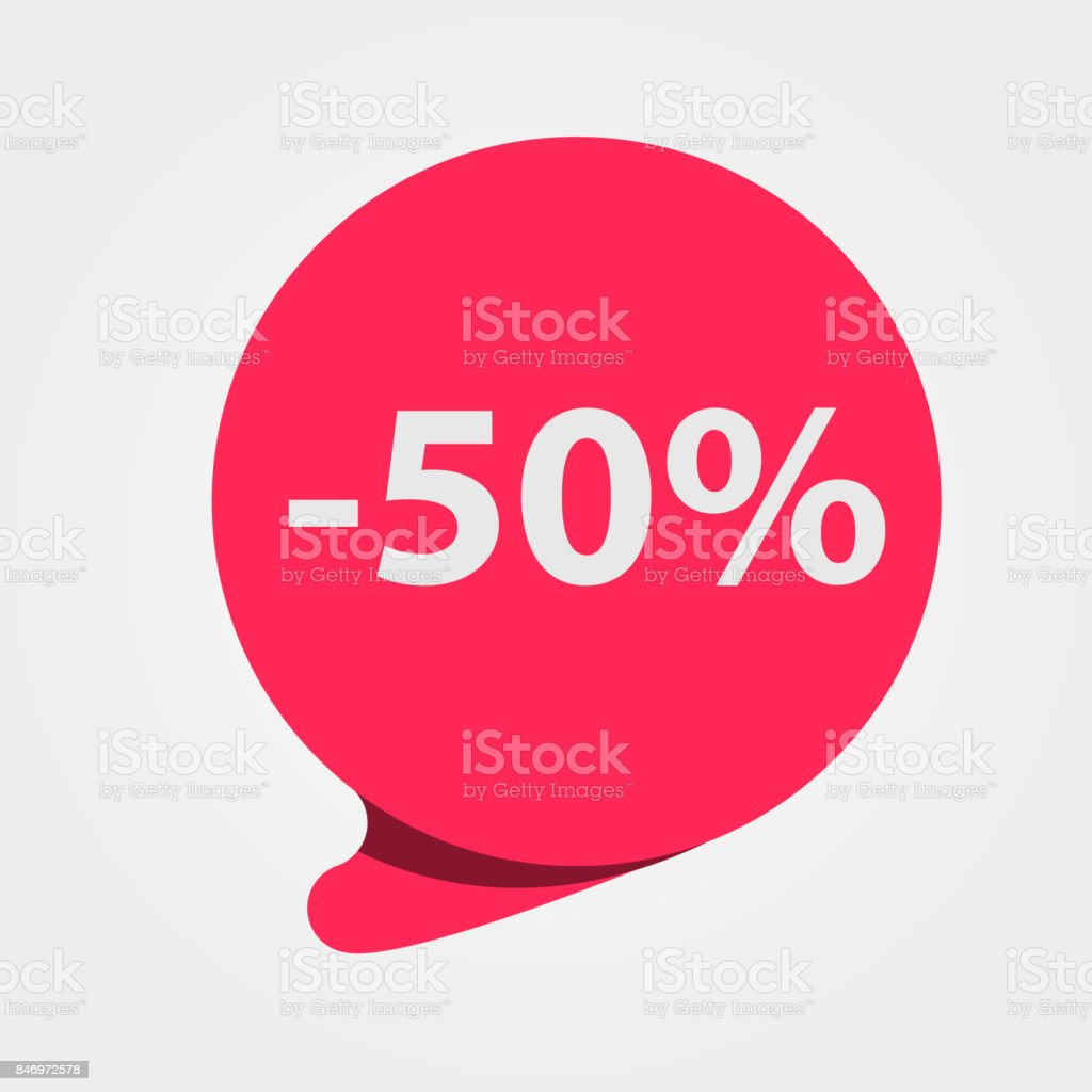 Special offer sale red tag. Discount, offer price label, symbol for advertising campaign. 50 percent off discount sticker. vector art illustration