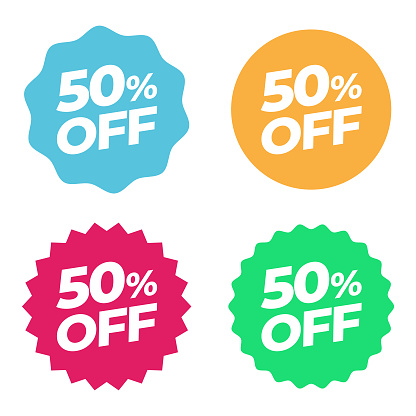 Special Offer Sale Tag. Discount 50% Offer Price Multicolor Label and Flat Design
