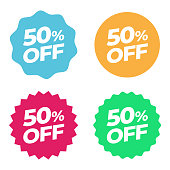 istock Special Offer Sale Tag. Discount 50% Offer Price Multicolor Label and Flat Design 1186501023